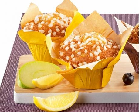 Muffin citron fourré pomme citron coupelle tulipe jaune