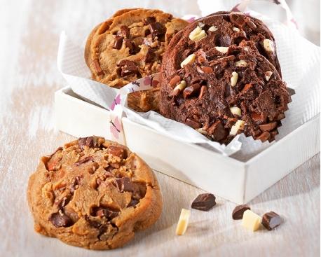 Cookie prêt à cuire : chunks chocolat lait et noir