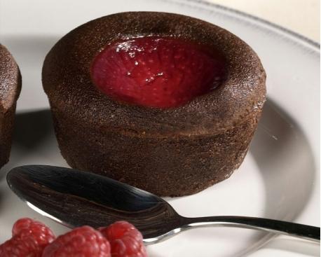 Fondant chocolat purée de framboises