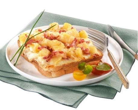 Croque pomme de terre lardons