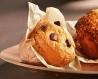 Muffin nature, chunks de chocolat, corole tulipe